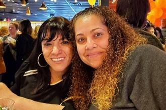 Paraprofessionals Jennifer Catajar (left) and Ramonita Montalbano from PS 279 en
