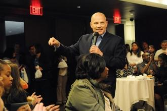 UFT President Michael Mulgrew addresses Queens members.