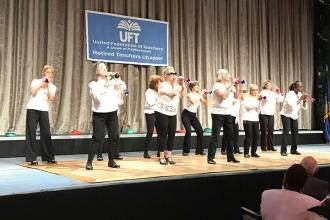 The Brooklyn Si Beagle Center Tap Dancers entertain the nearly 1,000 in attendan