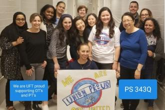 Union members at PS 343 in Queens show their union pride.