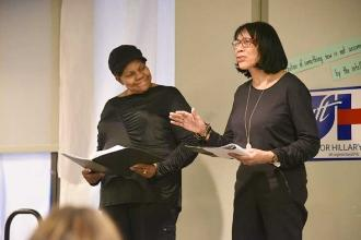 "Marjorie Bryant (left) and Donna Coles bring the one-act play ""The Doll"" to life"