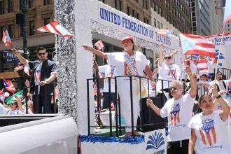 The UFT float, with Schools Chancellor Richard Carranza (left) and UFT Vice Pres