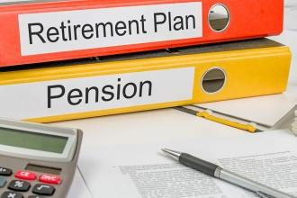 Looseleafs labeled Retirement plan and Pension