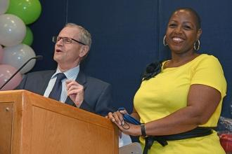 Goldie Colodny Award winner Paula Morrison of PS 46, Brooklyn, is introduced by