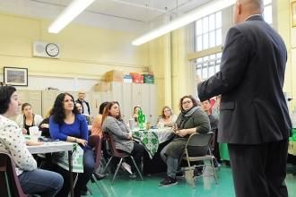 UFT President Michael Mulgrew met with educators for an overview of national and