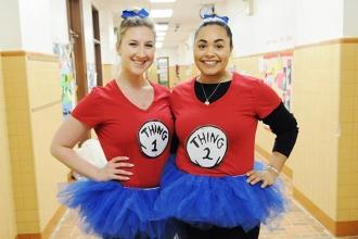 Pre-K teachers Vera Pooh (left) and Gabrielle Rabinowitz get into the spirit of