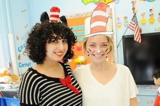 Paraprofessional Shereen Youssef (left) and teacher Julie Opperman are in a fest