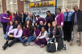 Staff at Jeanine Cammarata's first school — PS 251 in Flatlands, Brooklyn — atte