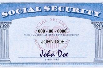 Sample of social security card