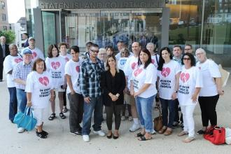 UFT representatives outside state Supreme Court on Staten Island on Aug. 14