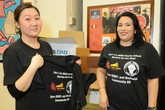 JHS 291 Chapter Leader Catherine Rhee (left) and paraprofessional Frances Rivera
