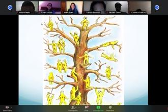 Picture of tree with number figures and people on a Zoom call