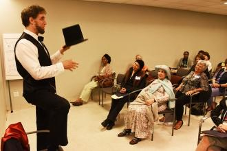 Storyteller Lou Del Bianco, dressed as Abraham Lincoln, uses a unique approach presenting in the From Railsplitter to President workshop.