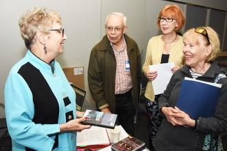 After leading the History of Opera: Voice Types workshop, Retired Metropolitan Opera performer Ellen Godfrey (left), who teaches an opera class for the RTC, chats with Guy and Kathy DePhillips (right), and Gerri Herskowitz, the UFT director of Retiree Programs.