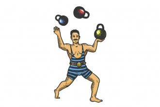 Illustration of man juggling weights