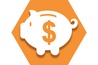 Orange hexagon with symbol of a piggy bank and dollar sign