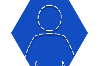 Hexagon with blue background showing outline of person
