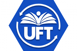 Hexagon with blue background UFT logo circled by arrows