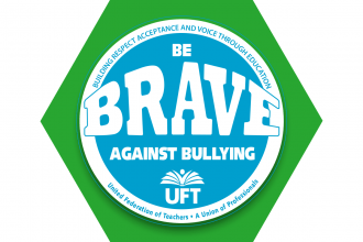 "Green hexagon with logo that says ""Be BRAVE Against Bullying"""