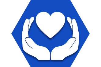 Blue hexagon showing two hands holding a heart