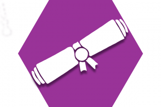 Hexagon with purple background showing diploma