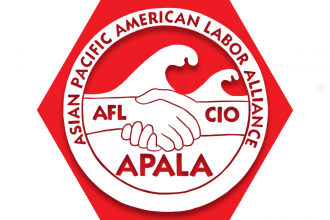 Hexagon with red background and text reading Asian Pacific American Labor Alliance