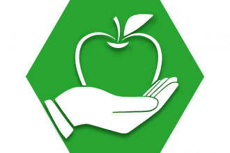 Hexagon with green background and symbol of hand holding apple