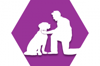 Hexagon with purple background and symbol of adult petting dog