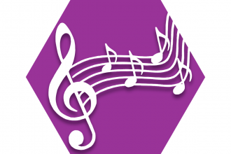 Hexagon with purple background and musical symbols representing UFT Music Teachers Committee