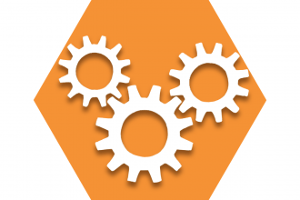 Hexagon with orange background and gears representing UFT Organizing Committee