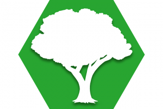 Hexagon with green background and symbol of tree representing UFT Outdoors Committee