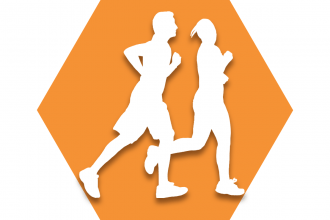 Orange hexagon with symbol of two runners representing UFT Runners Committee