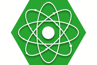 Green hexagon with symbol of atom representing UFT Science Committee