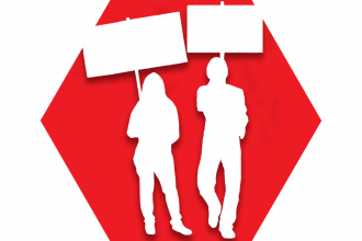 Red hexagon with symbol of two people carrying signs hoisted in the air representing UFT Social and Economic Justice Committee