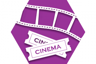 Purple hexagon with symbol of film and movie tickets representing UFT Social and Recreational Committee