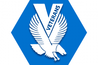 "Blue hexagon with symbol of flying eagle and V with text ""veterans"" inside it"