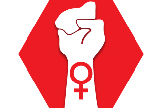 Red hexagon with symbol of a raised arm and the symbol for women