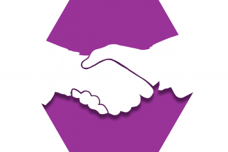 Hexagon with purple background and handshake representing UFT community partners