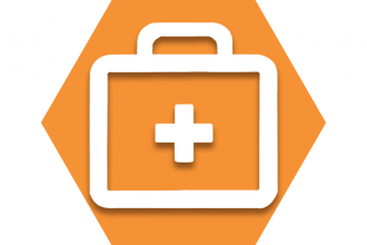 Orange hexagon with First Aid cross symbol