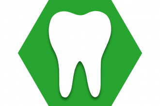 Green hexagon with outline of tooth