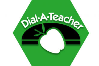 Green hexagon with symbol of an apple and text reading Dial-A-Teacher
