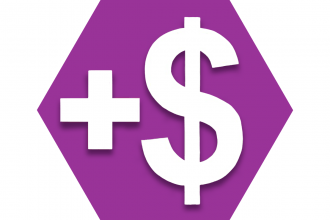 Purple hexagon showing a plus sign and dollar sign
