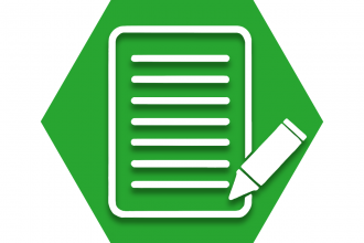 Green hexagon with outline of a paper and pen