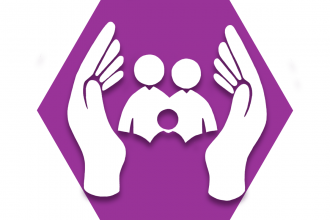 Purple hexagon showing outline of two hands surrounding figures
