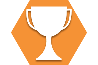 Orange hexagon with outline of a trophy