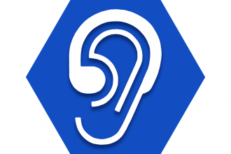Blue hexagon with outline of ear