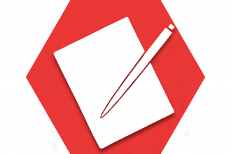 Red hexagon with symbol of paper and pen