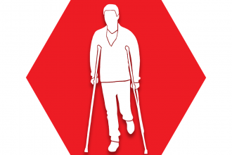 Red hexagon showing image of a person on crutches