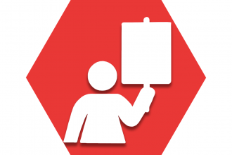 Hexagon with red background and figure holding up sign representing UFT labor issues