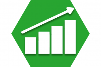 Green hexagon with outline of graph showing increases